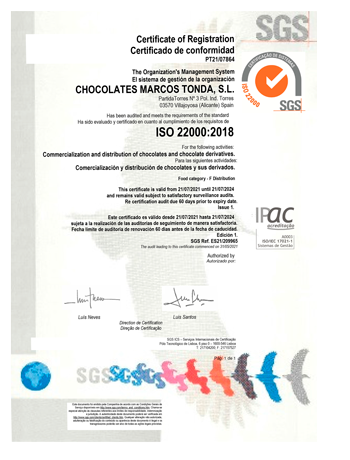 CERTIFICADO CALIDAD ISO 2200:2018 CHOCOLATES MARCOS TONDA